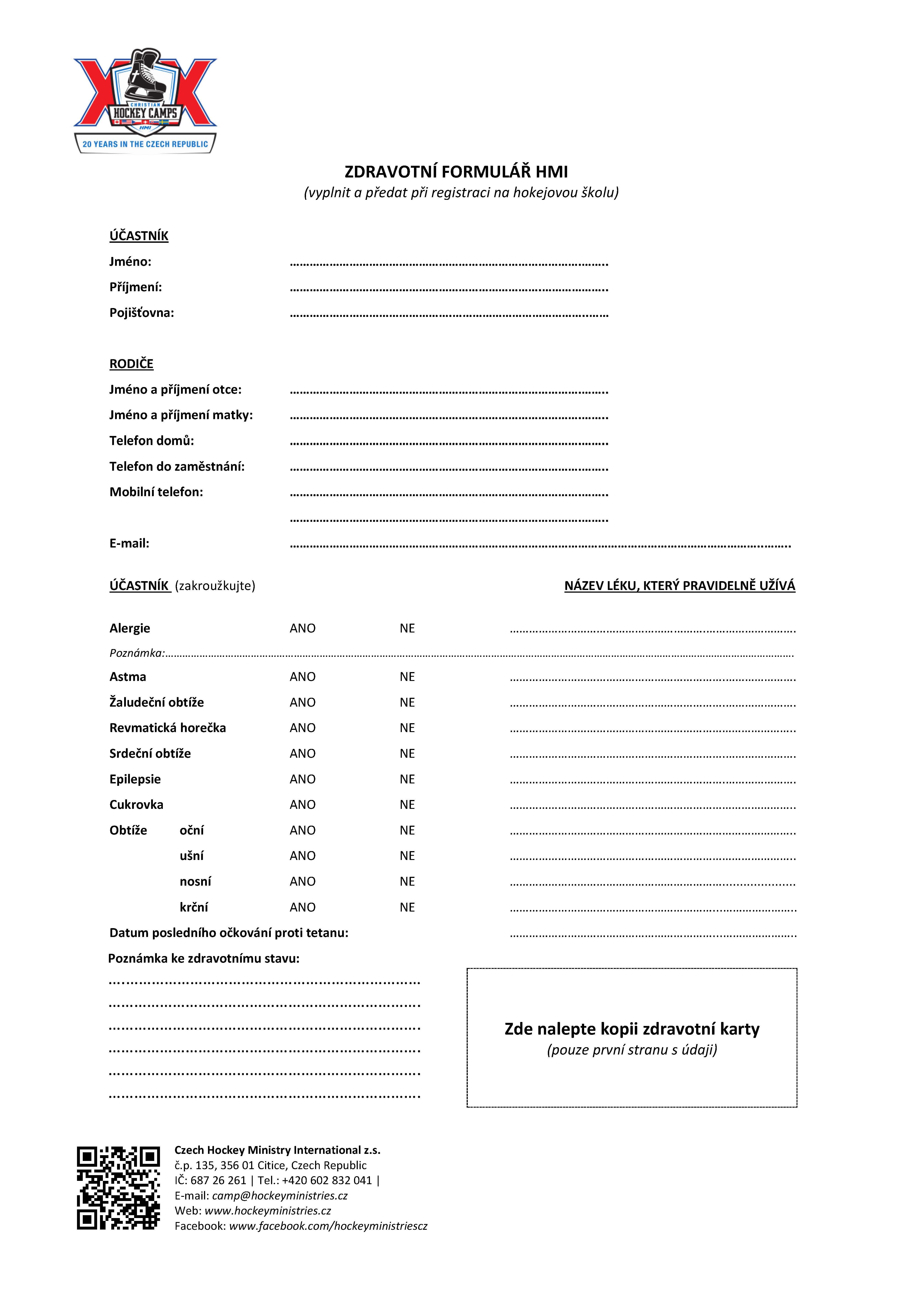 Zdravotní list HMI